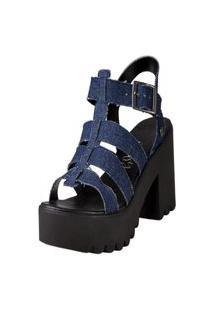 Sandália De Sintético -Azul Escuro-39