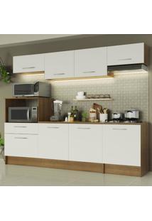 Cozinha Completa Madesa Onix 240001 Com Armário E Balcão - Rustic/Branco Marrom