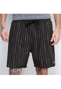 Shorts Gajang Listrado Cordão Masculino - Masculino-Preto