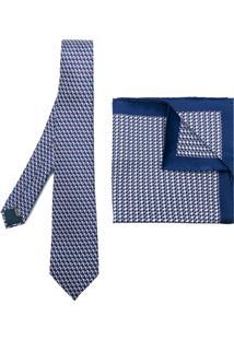 Lanvin Conjunto Duas Peças De Gravata E Lenço De De Bolso De Seda - Azul