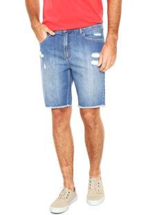 Bermuda Jeans Calvin Klein Jeans Reta Azul