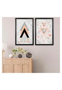 Quadro Com Moldura Chanfrada Triângulos Preto - Grande