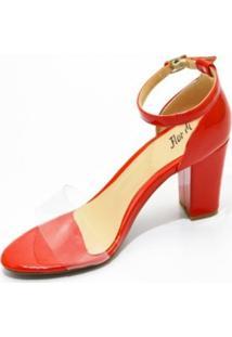 Sandália Salto Grosso Flor Da Pele 1825 Vermelha