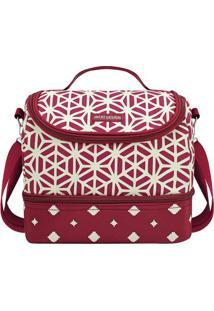 Bolsa Térmica Geométrica Com 2 Compartimentos- Vermelho Jacki Design