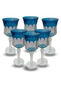 Conjunto De Taças Para Agua Em Vidro Cristalino Lapidado 6 Peçasazul Claro