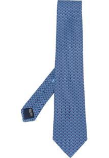 Salvatore Ferragamo Gravata Com Logo - Azul