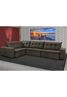 Sofa De Canto Retrátil E Reclinável Com Molas Cama Inbox Oklahoma 3,65X2,51 Ou 2,51X3,65 Café