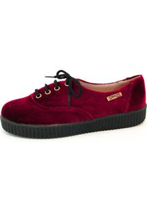 Tênis Creeper Quality Shoes Veludo Bordô Sola Preta