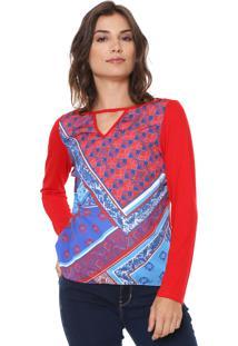 Blusa Enfim Estampada Vermelha/Azul
