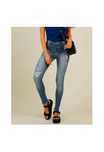 Calça Jeans Destroyed Feminina Skinny Barra Desfiada Sawary