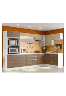 Cozinha Completa 100% Mdf Madesa Smart Modulada De Canto Branco/Rustic/Crema Branco/Rustic/Crema