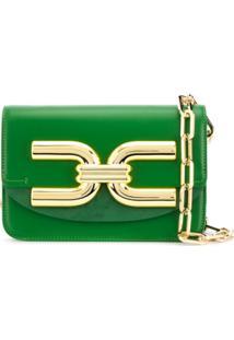 Elisabetta Franchi Bolsa Tiracolo Dourada Com Logo Frontal - Verde