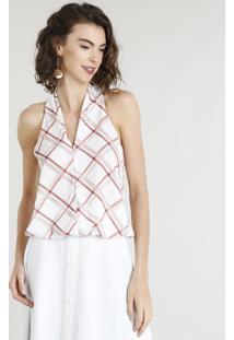 Regata Feminina Blusê Com Estampa Xadrez Decote V Off White