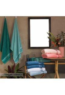 Toalha De Rosto Home Design- Verde Água & Branca- 50Santista