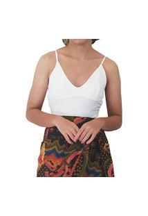 Body Farm Canelado Branco Rib Feminino