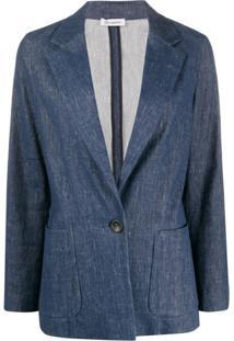 Peserico Blazer Jeans Com Decote V Profundo - Azul