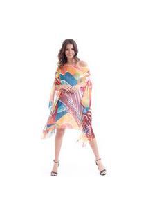 Kaftan 101 Resort Wear Vestido Plus Size Crepe Estampado Folhas Geométricas Laranja