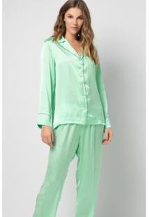 Conjunto Pijama Acuo 2 Peças Manga Longa Com Botões Feminino - Feminino-Verde