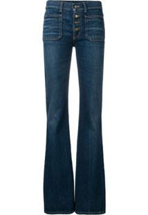 Saint Laurent Calça Jeans Flare - Azul