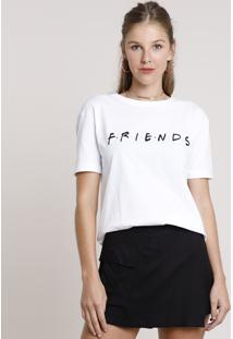 Blusa Feminina Friends Manga Curta Decote Redondo Off White