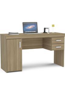 Mesa Para Computador Com 2 Gavetas E 1 Porta Miranda - Politorno - Castanho