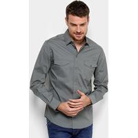 Camisa Colcci Slim Manga Longa 2 Bolsos Masculina - Masculino-Cinza e5fec8d7ad8