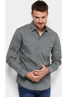 Camisa Colcci Slim Manga Longa 2 Bolsos Masculina - Masculino-Cinza