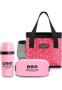 Kit 3 Peças Pote Marmita Bolsa Necessaire Térmica E Garrafa Jacki Design Pink - Kanui