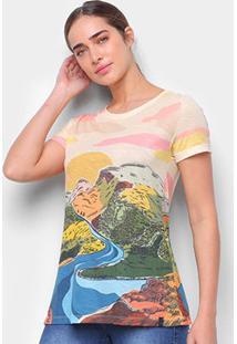 Camiseta T-Shirt Cantão Classic Nascente Feminina - Feminino-Colorido