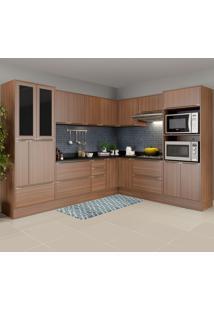 Cozinha Completa 19 Portas 4 Gavetas 5461R Nogueira/Malt - Multimóveis
