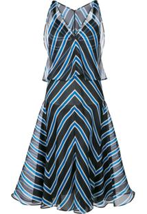 Fendi Vestido Listrado Evas㪠- Azul