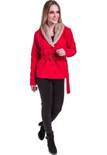 Casaco Blazer Lã Batida Acinturado Curto Detalhe Cinto Gola Com Pelo Vermelho
