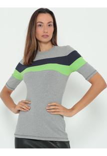 Blusa Canelada- Cinza & Verde- Colccicolcci