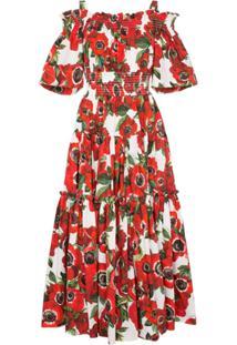 af1eb5e1aa ... Dolce   Gabbana Vestido De Algodão Com Estampa Floral - Vermelho