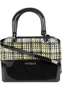 Bolsa Petite Jolie Handbag Feminina - Feminino-Preto+Amarelo