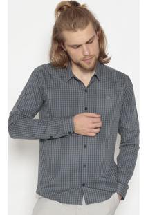 Camisa Slim Fit Xadrez- Cinza & Azulogochi