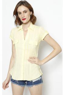 Camisa Listrada Com Bolso- Amarela- Intensintens