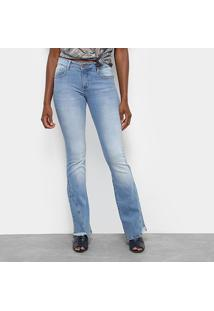 063f45a1a ... Calça Jeans Flare Triton Boot Cut Cintura Média Feminina -  Feminino-Azul Escuro