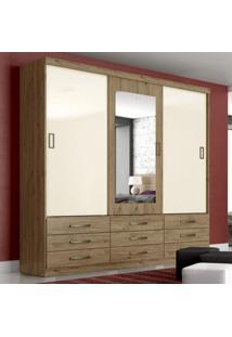 Guarda Roupa Casal Com Espelho 3 Portas De Correr E 9 Gavetas Camille Siena Móveis Rústico/Rústico/Off White