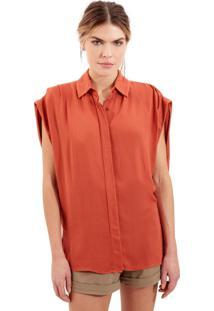 Camisa Rosa Chá Claret 1 Crepe Laranja Feminina (Burnt Brick, Gg)