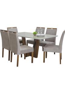 Conjunto Sala De Jantar Mesa E 6 Cadeiras Delazari, Imbuia - 191643