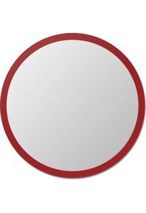 Espelho De Parede Redondo Edge - 110 Borda Vermelha Vidrotec