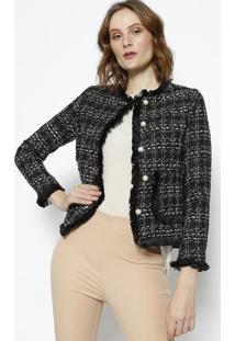 Blazer Tweed Com Franjas- Preto & Branco- Le Fixle Fix
