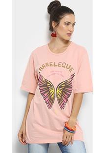 Camiseta Alongada Cantão Arreleque Feminina - Feminino-Rosa