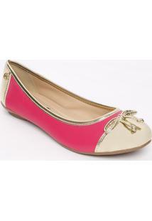 Sapatilha Em Couro Com Recortes- Pink & Douradacarmen Steffens