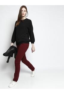 Blusa Lisa Com Punho Canelado- Preta- Lacostelacoste