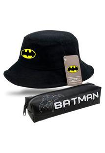 Bucket Moda Praia Chapeu Preto Personalizado Batman Com Estojo Escolar