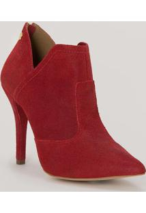 Ankle Boot Em Couro Acamurçado- Vermelha & Dourada- Carmen Steffens