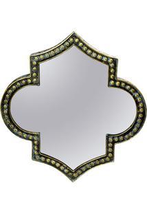 Espelho Marroquino Com Moldura- Azul Escuro & Dourado
