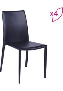 Jogo De Cadeiras Glam- Preto- 4Pã§S- Or Designor Design